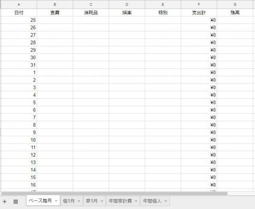 家計簿 毎月