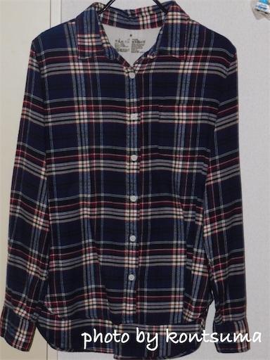 無印良品 フランネルシャツ ネイビー系